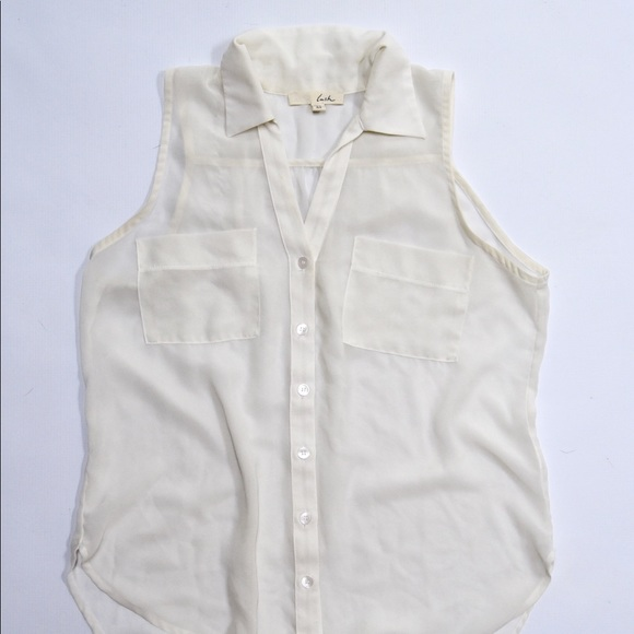 Lush Tops - Lush Ivory White Sleeveless Button Down Blouse XS
